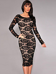 Women's Floral Lace Nude Illusion Long Sleeves Midi Dress