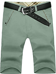 U-Shark Men's Summer Slim Casual&Fashion Grey Green Solid Color Cotton Shorts Cropped Pants without Belt