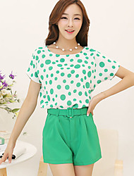 Women's Green Blouse Short Sleeve