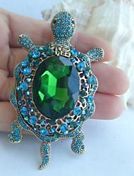 Women Accessories Gold-tone Turquoise Green Rhinestone Crystal Tortoise Turtle Brooch Art Deco Women Jewelry