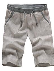 Men's Casual Pure Shorts Pants (Cotton/Linen)
