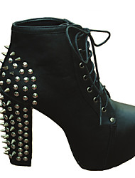 DOPO Women's Shoes Black/White Chunky Heel 12cm and up Boots