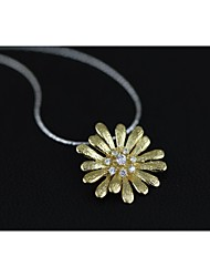 Gold-plated Silver Handmade Fresh Flower Pendant without Chain