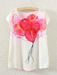Women's Short Sleeve Ballon Graphic Printed T Shirt