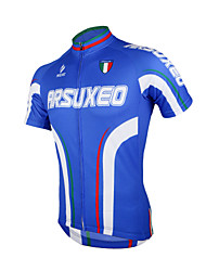 Arsuxeo Cycling Jersey Men's Short Sleeve Bike Breathable Quick Dry Anatomic Design Front Zipper Jersey Tops 100% Polyester ClassicSpring