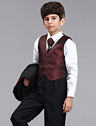Polester/Cotton Blend Ring Bearer Suit - 5 Pieces Includes  Jacket / Shirt / Vest / Pants / Long Tie