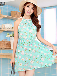 Women's Floral Green Dress , Beach/Print Halter Sleeveless Flower
