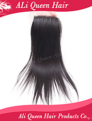 Ali Queen Hair Products Brazilian Human Remy Hair Silk Base Closure Straight,4x4 Swiss Lace With DHL Shipping Free