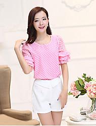 Women's Polka Dot Pink/White/Yellow Blouse , Round Neck ½ Length Sleeve Ruffle