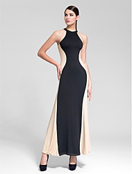 Cocktail Party Dress - Black Sheath/Column Jewel Floor-length Polyester