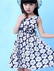 Girls Fashion Floral Party Birthday Children Clothing  Dresses (100% Cotton)