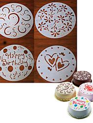 4 piezas redondas artesanal molde de pastel fondant que adorna la flor de corte corazón sugarcraft 20 * 20 * 0.12 cm