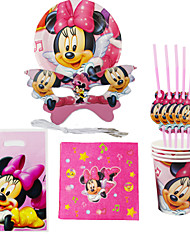 40pcs Minnie Mouse Baby Birthday Party Decorations Kids Evnent Party Supplies Party Decoration 6 People Use