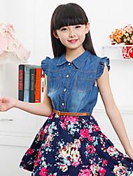 Girl's Chiffon/Denim Dress , Summer Short Sleeve