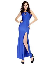 Vestidos e Saias ( Preto/Vermelho/Royal Blue , Elastano/Poliéster/Seda tecida com Cetim , Roupas de Balada ) - de Roupas de Balada -