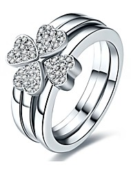 Pretty Clover Jewelry Set Three Rings in One SONA Simulate Diamond Rings Set Platinum Plated in Sterling Silver Ring Set