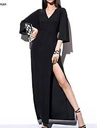 Women's Sexy V Neck Belt Embellished Party Micro-elastic ¾ Sleeve Maxi Dress (Cotton Blends)