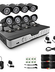 Zmodo 8 CH Key DVR 4 Outdoor 600TVL Day Night CCTV Home Security Camera System