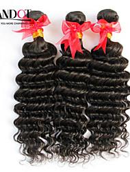 """3шт много 12 """"-30"""" необработанные сырьевые бразильские глубокая волна фигурные девственные волосы утки натуральный черный Реми"""