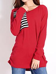 Tee-shirt Aux femmes Manches Longues Col Arrondi Polyester