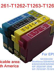 bloom®t1261-t1264 cartouche d'encre compatible pour Epson WF-3520 / WF-3540 / WF-7010 / WF-7510 / WF-7520 pleine d'encre (4 couleurs 1