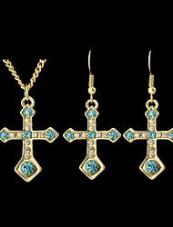 Kayshine Beautiful Rhinestone Cross Shaped Pendant Fashion Jewelry Set