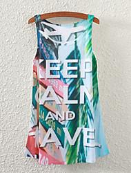 Women's Sleeveless Rainforest Letters Graphic Printed Vest