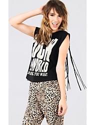Mulheres Camiseta Sem Manga Franjas Algodão Mulheres