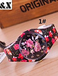 Женские Модные часы Кварцевый силиконовый Группа Конфеты / Цветы Разноцветный бренд-