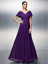 TS Couture Dress - Open Back Sheath / Column V-neck Floor-length Chiffon with Beading Criss Cross