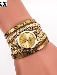 Mulheres Relógio de Moda Bracele Relógio Quartzo Couro Banda Brilhante Preta Branco Azul Prata Vermelho Marrom Dourada RosaMarron