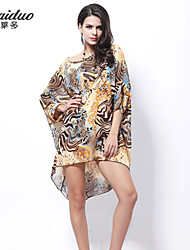 AOLD®Women's Vintage/Sexy/Beach/Print/Plus Sizes Micro-elastic ½ Length Sleeve Asymmetrical Dress (Chiffon/Lycra)