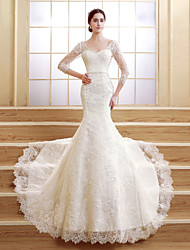Trumpet/Mermaid Petite Wedding Dress-Court Train V-neck Lace