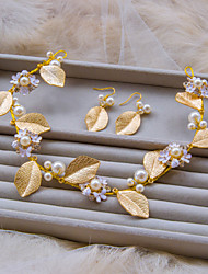 Korean Gold Color With White Pearl Leaf Style Hairbands With Earring Jewelry Sets A1111SD