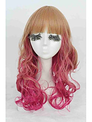 largo rubio colorido rizado señora de las mujeres de la moda con el arco iris de color rojo peluca cosplay ombre pelo sintético de la