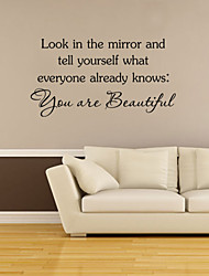 Wall Stickers Wall Decals Style You Are Beautiful English Words & Quotes PVC Wall Stickers