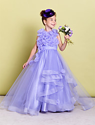 A-Line Sweep / Brush Train Flower Girl Dress - Organza Sleeveless Jewel Neck with Flower by LAN TING BRIDE®