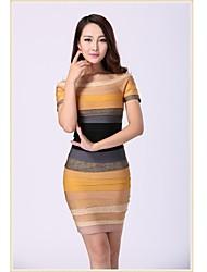 Cocktail Party Dress - As Picture Petite Sheath/Column Scoop Short/Mini Spandex / Rayon / Nylon Taffeta