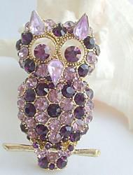 Women Accessories Purple Rhinestone Crystal Brooch Art Deco Bird Owl Brooch Women Jewelry