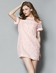 Women's Classic Nail Bead Half a Turtleneck Cultivate One's Morality Dress with Short Sleeves