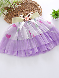 Girls' Bow Tulle Heart Pattern Pretty Tutu Skirt