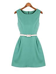 Women's Blue/Green Dress , Casual Sleeveless