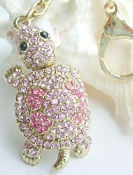 Lovely Tortoise Turtle Key Chain With Pink Rhinestone crystals