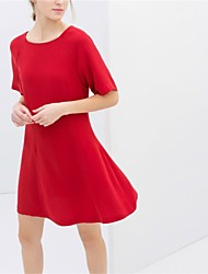 Vestidos ( Rayón )- Casual Redondo Manga Corta para Mujer