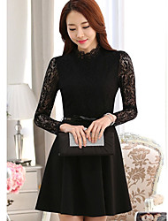 Women's Dresses , Lace/Polyester Casual/Work Long Sleeve K.M.S