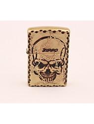 Classic Zippo Person Cranial Golden Head Metal Butane Lighter