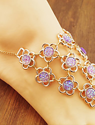 Women Fashion Body Jewelry Charm Vintage Alloy Diamond Flower Sequins Multilayer Anklets