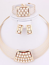 Hot Sale Wedding Pearl Collar Gold Plated (Including Necklace, Earring, Bracelet, Ring) Jewelry Sets