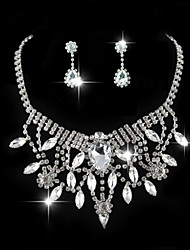 Vintage Flashion Women's Silver/Alloy Wedding/Party Jewelry Set Flower Necklace Earring Drop Diamond For Bridal