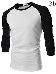 Tee-Shirt Décontracté/Travail Pour des hommes Manches longues Couleur plaine Coton/Mélange de Coton